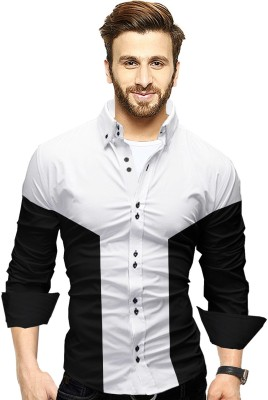 Tripr Men Color Block Casual White, Black Shirt