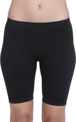 Ellipsis Solid Women's Black Sports Shorts