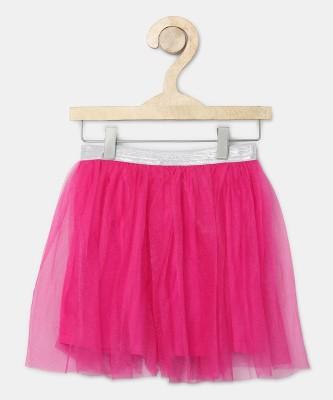 612 League Embellished Girls Flared Pink Skirt at flipkart