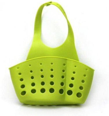 Gnany Portable Hanging Drain Bag Basket Adjustable Snap Button Type Drain Rack Storage Holder (Green Color)(Green)