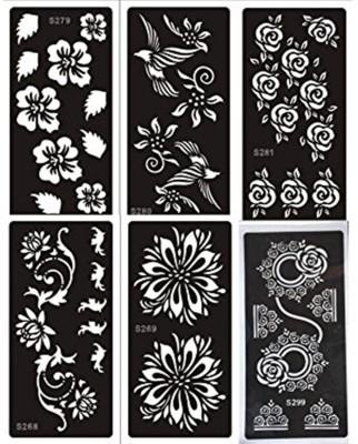 ivana's Henna Tattoo Stencil (Set for 6) Women Girls Hand Finger Body Paint Temporary Tattoo(Hand, Body)