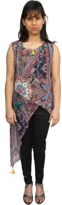 Harbinger Designs Party Sleeveless Paisley, Floral Print Women Multicolor Top
