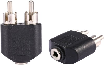 Fedus  TV-out Cable 2 RCA Male to 3.5 mm Aux Stereo Female Jack Connector Convered(Black, For TV)