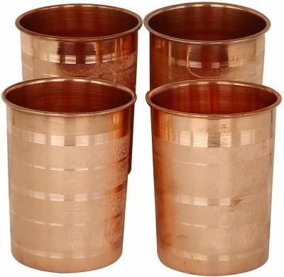 WebelKart  Pack of 4  Pure Copper Luxury Tumbler Glass Set 250 ml, Copper WebelKart Glasses