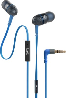 boAt BassHeads 220 Super Extra Bass Wired Headset with Mic(Blue, In the Ear)
