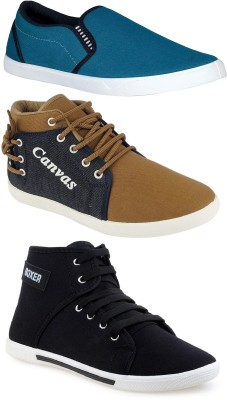 Chevit Combo Pack of 3 Casual Shoes (Sneakers Shoes) Canvas Shoes For Men(Multicolor)