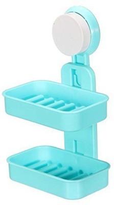 Vpllex Double Layers Soap Box Bathroom Soap Dish Sucker Holder(Multicolor)