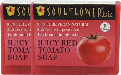 Soulflower Juciy Red Tomato Soap Set of 2(2 x 150 g)