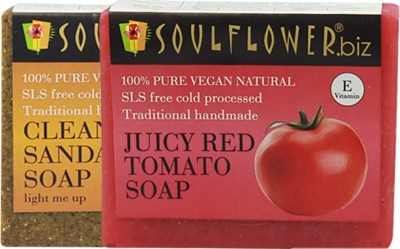 Soulflower Cleansing Sandalwood & Juciy Red Tomato Saop Set of 2(2 x 150 g)