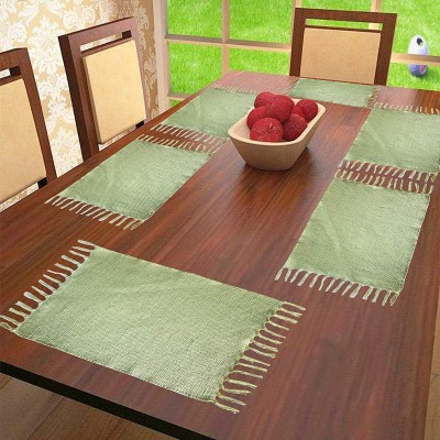 The Home Talk Rectangular Pack of 6 Table Placemat(Light Green, Cotton) at flipkart