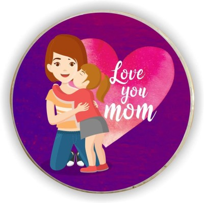 Theyayacafe YaYa cafe Mothers Day Gifts for Mom Love You Mom Fridge Magnet - Round Fridge Magnet Pack of 1(Purple) at flipkart