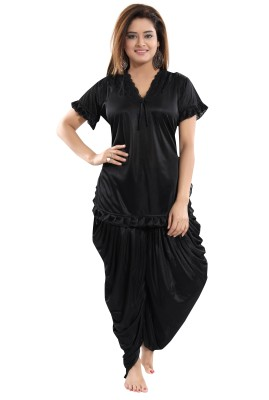 Fashigo Women Solid Black Top & Pyjama Set