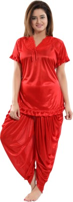 Fashigo Women Solid Red Top & Pyjama Set