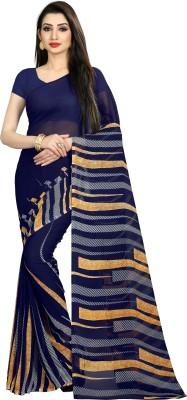 Anand Sarees Striped Daily Wear Georgette Saree(Dark Blue)