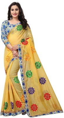 DOLVIA Embroidered Fashion Poly Georgette Saree(Yellow, Light Blue)