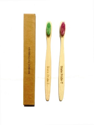 State Pride-T Green-Purple Bamboo pack of 2 Medium Toothbrush(Pack of 2)