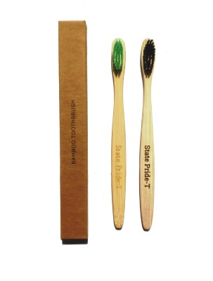 State Pride-T Multi colored bristles Bamboo pack of 2 Medium Toothbrush(Pack of 2)