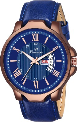 Buccachi B-G5069-BL-BL Blue Dial Day & Date Functioning Water Resistant Synthetic Leather Analog Watch  - For Men