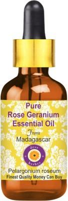 Deve Herbes Pure Rose Geranium Essential Oil (Pelargonium roseum) with Glass Dropper 100% Natural Therapeutic Grade Steam Distilled(100 ml)