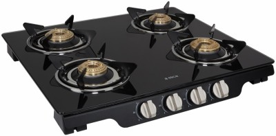Elica Patio Ict 460 Blk Ai Glass, Steel Automatic Gas Stove(4 Burners)