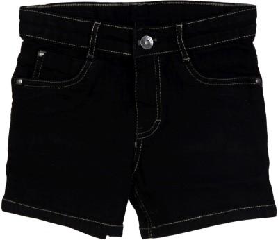 Kirosh Short For Girls Casual Solid Denim(Black, Pack of 1)