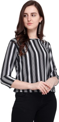 Aelomart Casual Half Sleeve Striped Women Yellow, White Top