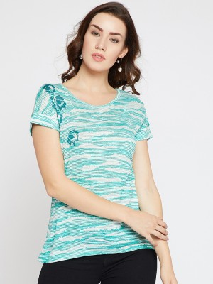 Rare Casual Half Sleeve Printed Women White Top