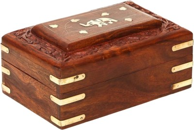 ZABAK Handcrafted Multipurpose Wooden Jewellery And Makeup Box ZBK03 Makeup And Jewellery Box Vanity Box(Brown)