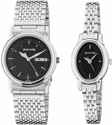 Sonata 11418100SM01 Analog Black Dial Wedding Couple Watch (11418100SM01)