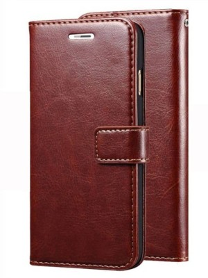 SESS XUSIVE Flip Cover for Leather Wallet Flip Book Cover Case For Lava Z70 - (Brown)(Brown, Dual Protection)