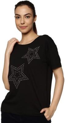 Only Casual Half Sleeve Printed Women Black Top