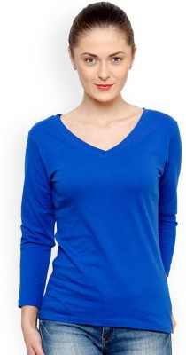 Trends Tower Casual Full Sleeve Solid Women Light Blue Top
