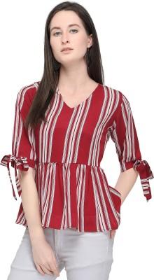 SereinCasual Half Sleeve Striped Women Maroon Top Serein Tops