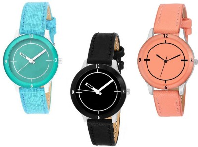 R P S Fashion new designer sky blue,black and peach cutt glass watch for girl combo 3 Analog Watch  - For Women