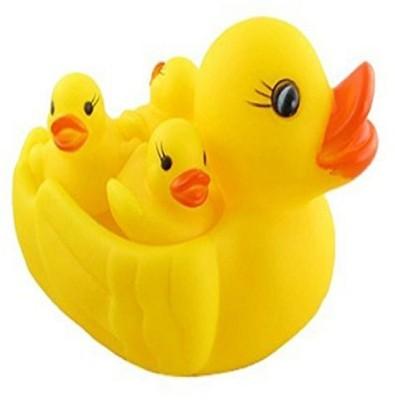 KAGVAD CHU CHU BATH TOYS FOR TODDLER BABY ANIMAL SHAPE NON TOXIC TOYS (4 PC DUCK CHU CHU) Bath Toy(Yellow)