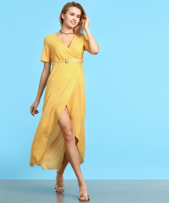 Ann Springs Women High Low White, Yellow Dress at flipkart