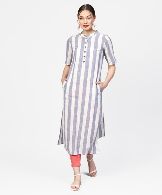 Jaipur Kurti Casual Striped Women Kurti(White, Grey)