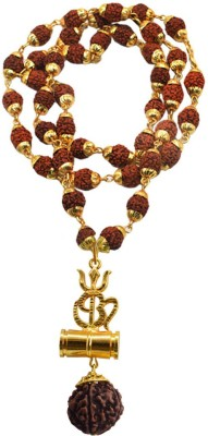 Men Style Brass Beautiful Great Hindu Shiv Om Trishul Kavach Damaru Locket With Panchmukhi Rudraksha Mala Gold-plated Brass, Wood Pendant Set