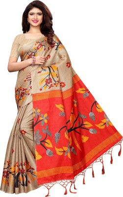 Saara Animal Print, Printed Mysore Art Silk, Printed Silk Saree(Beige, Maroon)
