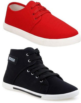 Chevit Combo Pack of 2 Casual & Sports Shoes Sneakers For Men(Red, Black)