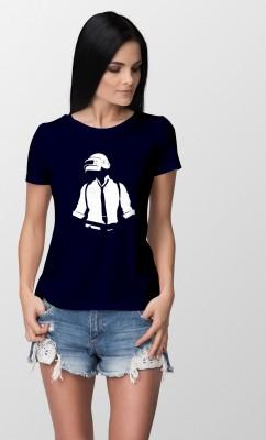 Friskers Graphic Print Women Round Neck Dark Blue T Shirt