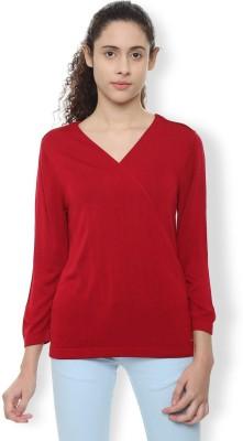 Van Heusen Casual Full Sleeve Solid Women's Red Top