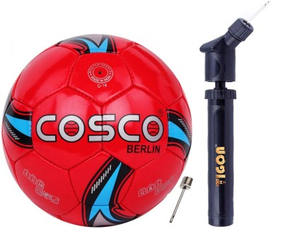 """Cosco Berlin Football """"Size-5"""" With Dual Action Ball Pump Football - Size: 5(Pack of 2, Multicolor)"""