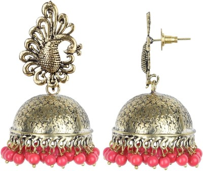 PRITA Pearl with Red Gold Plated Jhumki Earring For Party wear, Wedding & Winter Collection,South Indian Festival Pongal And makar sankranti Earrings For Girls & Women Alloy Jhumki Earring at flipkart