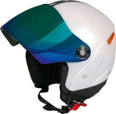 JMD GRAND Premium Open Face Helmet With Mirror Visor (White, Large) Motorbike Helmet(White)
