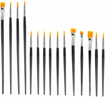 Treely Professional Artist Paint Brush Set, 15 Different Shapes and Size(Set of 15, Black)