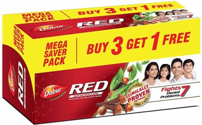 Dabur Red Paste, 600g ( Pack of 4) Toothpaste(600 g, Pack of 4)
