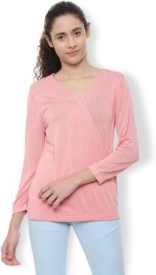 Van Heusen Casual 3/4th Sleeve Solid Women's Pink Top