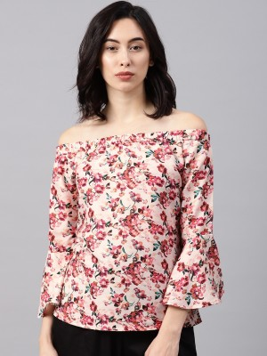 NUSH Casual 3/4th Sleeve Floral Print Women's Pink Top