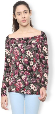 Van Heusen Casual Full Sleeve Printed Women Maroon Top